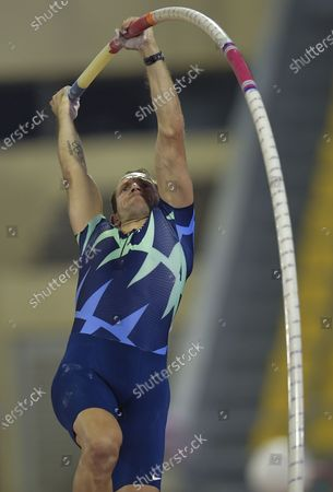 Renaud Lavillenie of France competes during the men's pole vault final at the 2020 Diamond League Athletics Meeting in Doha, Qatar, Sept. 25, 2020.