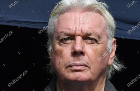 British Conspiracy theorist David Icke attends a 'We Do Not Consent' rally at Trafalgar Square in London, Britain, 26 September 2020. Thousends of people gathered at a demonstration to protest against new coronavirus restrictions.