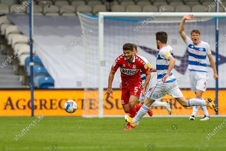 Middlesbrough midfielder Sam Morsy (5) chases the ball during the EFL Sky Bet Championship match between Queens Park Rangers and Middlesbrough at the Kiyan Prince Foundation Stadium, London