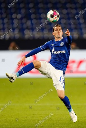 Schalke's Sebastian Rudy challenges for the ball during the German Bundesliga soccer match between FC Schalke 04 and Werder Bremen in Gelsenkirchen, Germany