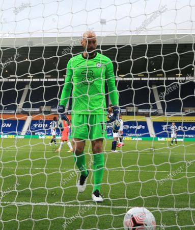Willy Caballero of Chelsea reacts after conceding their first goal during the English Premier League match between West Bromwich Albion and Chelsea in West Bromwich, Britain, 26 September 2020.