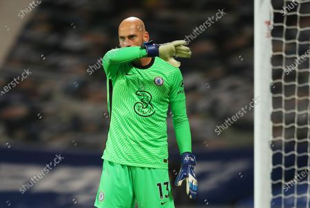 Willy Caballero of Chelsea reacts during the English Premier League match between West Bromwich Albion and Chelsea in West Bromwich, Britain, 26 September 2020.