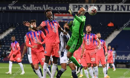 Willy Caballero of Chelsea (C) in action during the English Premier League match between West Bromwich Albion and Chelsea in West Bromwich, Britain, 26 September 2020.