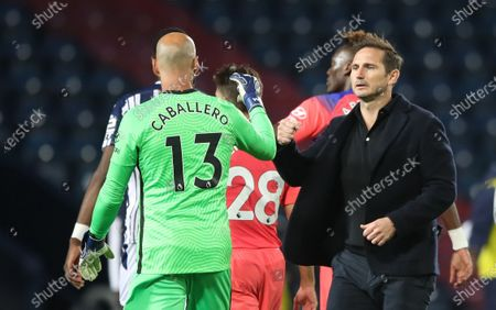 Chelsea's manager Frank Lampard greets his goalkeeper Willy Caballero (L) at the end of the English Premier League match between West Bromwich Albion and Chelsea in West Bromwich, Britain, 26 September 2020.