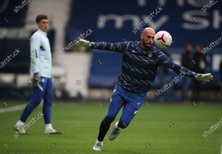 Goalkeepers Kepa Arrizabalaga (L) and Willy Caballero (R) of Chelsea warm up ahead of the English Premier League match between West Bromwich Albion and Chelsea in West Bromwich, Britain, 26 September 2020.