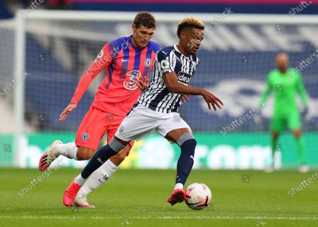 Grady Diangana of West Bromwich (R) in action against Andreas Christensen of Chelsea (L) during the English Premier League match between West Bromwich Albion and Chelsea in West Bromwich, Britain, 26 September 2020.