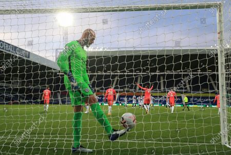 Chelsea's Argentinian goalkeeper Willy Caballero reacts after conceding their third goal during the English Premier League soccer match between West Bromwich Albion and Chelsea at the Hawthorns in West Bromwich, England