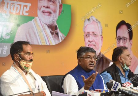 Union Minister Ravi Shankar Prasad addresses the media during a press conference at BJP office, on September 26, 2020 in Patna, India. Ravi Shankar Prasad said that the constituents of the NDA will contest the Bihar assembly elections together, asserting that the problems within the coalition will be resolved.