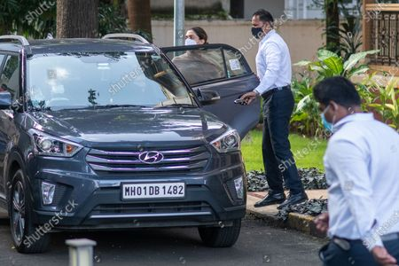 Bollywood actress Deepika Padukone leaves from NCB-SIT guest house after enquiry at Colaba, on September 26, 2020 in Mumbai, India. Three Bollywood actors were questioned by the Narcotics Control Bureau (NCB) on Saturday as part of its investigation into a drug case related to the death of Sushant Singh Rajput in June this year, officials said.