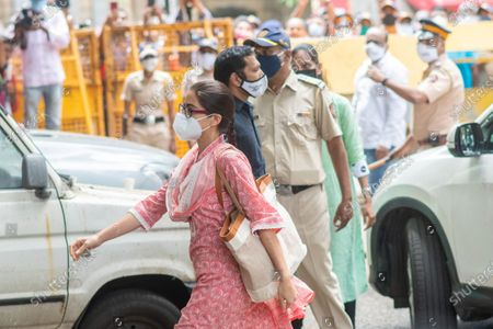 Bollywood actress Sara Ali Khan arrives at NCB office for enquiry at Exchange Building, on September 26, 2020 in Mumbai, India. Three Bollywood actors were questioned by the Narcotics Control Bureau (NCB) on Saturday as part of its investigation into a drug case related to the death of Sushant Singh Rajput in June this year, officials said.