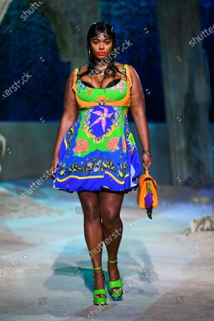 Stock Picture of Precious Lee wearing an outfit from the women s ready to wear collections, spring summer 2021, original creation, during the Womenswear Fashion Week in Milan, from the house of Versace