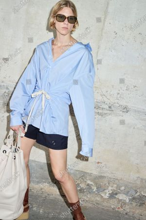 Stock Picture of A Model wearing an outfit from the women s ready to wear collections, spring summer 2021, original creation, during the Womenswear Fashion Week in Milan, from the house of Andrea Pompilio