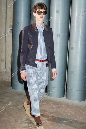 A Model wearing an outfit from the women s ready to wear collections, spring summer 2021, original creation, during the Womenswear Fashion Week in Milan, from the house of Andrea Pompilio