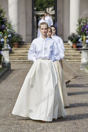 A Model wearing an outfit from the women s ready to wear collections, spring summer 2021, original creation, during the Womenswear Fashion Week in Milan, from the house of Elisabetta Franchi