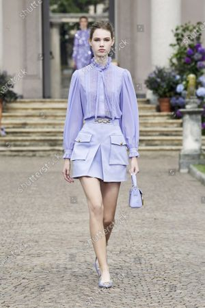 Stock Picture of A Model wearing an outfit from the women s ready to wear collections, spring summer 2021, original creation, during the Womenswear Fashion Week in Milan, from the house of Elisabetta Franchi