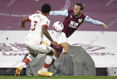 Josh Brownhill (R) of Burnley in action against Ryan Bertrand (L) of Southampton during the English Premier League match between Burnley and Southampton in Burnley, Britain, 26 September 2020.