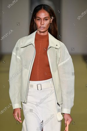 Stock Photo of Joan Smalls on the catwalk wearing an outfit from the women s ready to wear collections, spring summer 2021, original creation, during the Womenswear Fashion Week in Milan, from the house of Salvatore Ferragamo