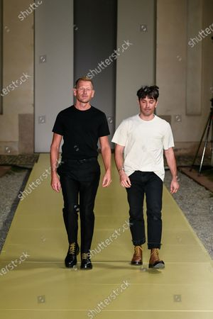 Paul Andrew and Guillaume Meilland on the catwalk during the women s ready to wear collections, spring summer 2021, original creation, during the Womenswear Fashion Week in Milan, from the house of Salvatore Ferragamo