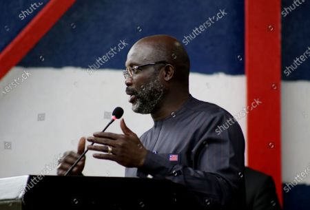 Liberian president, George Weah speaks during an event to mark World Tourism Day at the providence Island in Monrovia, Liberia, 26 September 2020. World tourism day is celebrated every year 26 September, and Liberia Ministry of Information Cultural Affairs & Tourism show cases the country's cultural heritage, the historic Providence Island (first  point arrival of the freed slaves American Slaves) in observance of International tourism day, aimed at boosting the tourism sector.