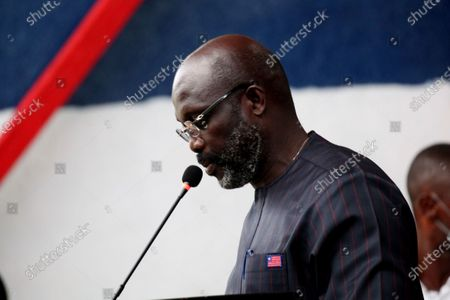 Liberian president, George Weah speaks during event to mark World Tourism Day at the providence Island in Monrovia, Liberia, 26 September 2020. World tourism day is celebrated every year 26 September, and Liberia Ministry of Information Cultural Affairs & Tourism show cases the country's cultural heritage, the historic Providence Island (first  point arrival of the freed slaves American Slaves) in observance of International tourism day, aimed at boosting the tourism sector.