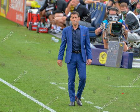 Houston Head Coach, Tab Ramos, on the sidelines during the MLS match between the Houston Dynamo and Nashville SC at Nissan Stadium in Nashville, TN