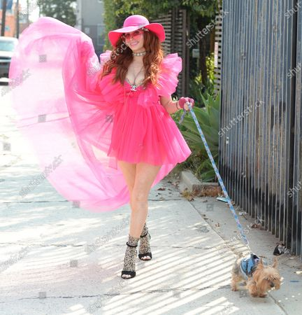 Phoebe Price out and about with her dog