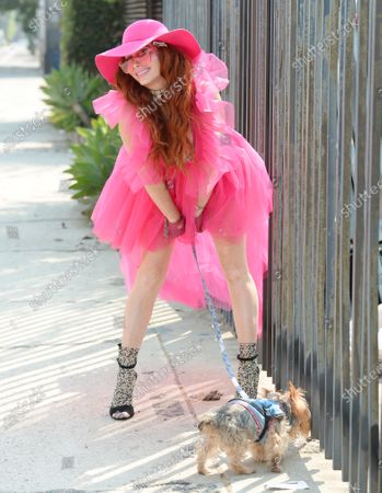 Stock Picture of Phoebe Price out and about with her dog