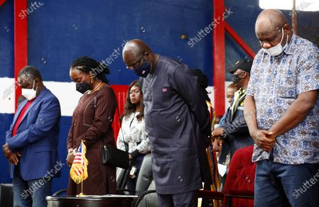 Liberian president George Weah (2-R), along with First Lady Clar Weah (2-L), attend an event to mark World Tourism Day on Providence Island in Monrovia, Liberia, 26 September 2020. World Tourism Day is celebrated annually on 26 September. The and Liberia Ministry of Information Cultural Affairs & Tourism held an event to showcase the country's cultural heritage.