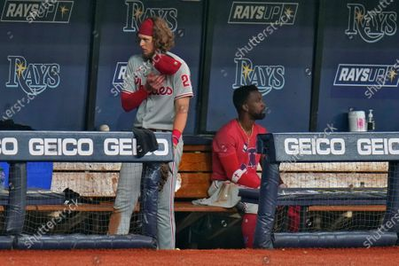 Stock Picture of Philadelphia Phillies' Alec Bohm, left, and Andrew McCutchen remain in the dugout after the team lost to the Tampa Bay Rays during a baseball game, in St. Petersburg, Fla