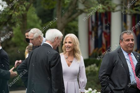 Kellyanne Conway, right, talks with other guests following President Donald Trump's announcement of Amy Coney Barrett, 48, as his nominee for Associate Justice of the Supreme Court of the United States during a ceremony in the Rose Garden at The White House in Washington, DC., Saturday, September 26, 2020.
