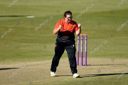 Charlotte Taylor of Southern Vipers celebrates the wicket of Hollie Armitage