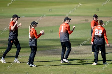 Southern Vipers celebrate the wicket of Ami Campbell