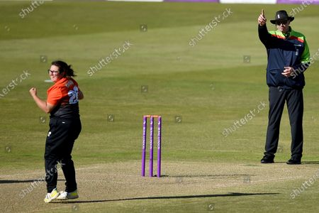 Charlotte Taylor of Southern Vipers starts to celebrate the wicket of Jenny Gunn as the umpire raises his finger