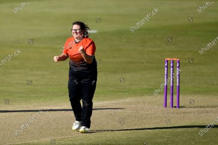 Stock Picture of Charlotte Taylor of Southern Vipers celebrates the wicket of Jenny Gunn