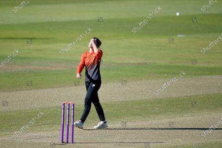 Paige Scholfield of Southern Vipers shows her disappointment  as the ball is hit to the boundary
