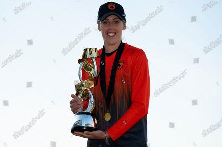 Winning captain Georgia Adams with the Rachael Heyhoe Flint Trophy