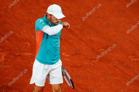 David Goffin during his Men's Singles first round match on Philippe Chatrier Court