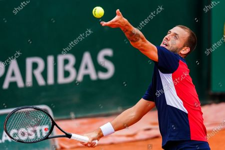 Dan Evans during his Men's Singles first round match on Court 14
