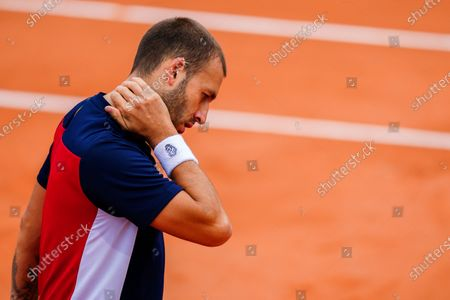 A dejected Dan Evans during his Men's Singles first round match on Court 14