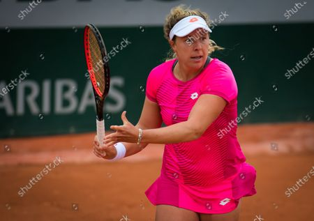 Anna-Lena Friedsam of Germany in action during the first round at the 2020 Roland Garros Grand Slam tennis tournament