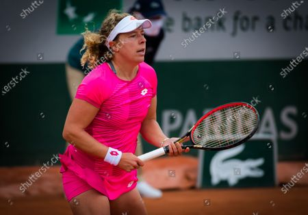 Stock Picture of Anna-Lena Friedsam of Germany in action during the first round at the 2020 Roland Garros Grand Slam tennis tournament