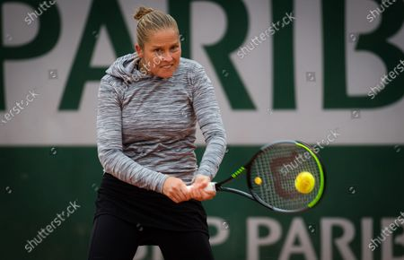 Shelby Rogers of the United States in action during the first round of the 2020 Roland Garros Grand Slam tennis tournament