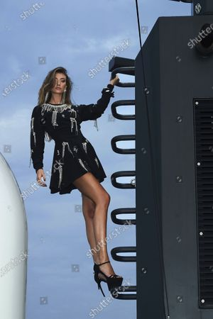 A Model wearing an outfit from the women s ready to wear collections, spring summer 2021, original creation, during the Womenswear Fashion Week in Milan, from the house of Philipp Plein
