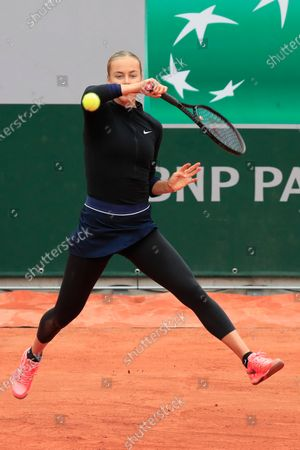 Slovakia's Anna Karolina Schmiedlova plays a shot against Venus Williams of the U.S. in the first round match of the French Open tennis tournament at the Roland Garros stadium in Paris, France
