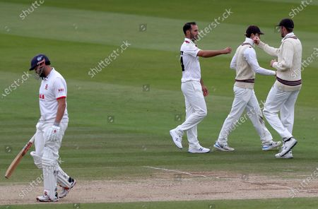 Stock Photo of Lewis Gregory of Somerset celebrates taking the wicket of Nick Browne during Somerset CCC vs Essex CCC, Bob Willis Trophy Final Cricket at Lord's Cricket Ground on 27th September 2020