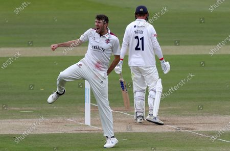 Craig Overton of Somerset celebrates taking the wicket of Tom Westley during Somerset CCC vs Essex CCC, Bob Willis Trophy Final Cricket at Lord's Cricket Ground on 27th September 2020