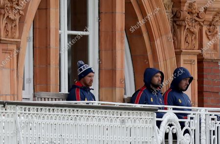 Stock Picture of Jamie Porter, Nick Browne and Simon Harmer of Essex on their balcony during Somerset CCC vs Essex CCC, Bob Willis Trophy Final Cricket at Lord's Cricket Ground on 27th September 2020