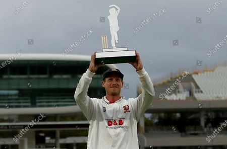 Tom Westley of Essex lifts the Bob Willis Trophy during Somerset CCC vs Essex CCC, Bob Willis Trophy Final Cricket at Lord's Cricket Ground on 27th September 2020