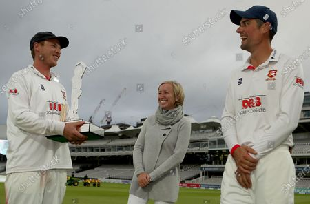 Lauren Clark talks with Tom Westley and Sir Alastair Cook during Somerset CCC vs Essex CCC, Bob Willis Trophy Final Cricket at Lord's Cricket Ground on 27th September 2020