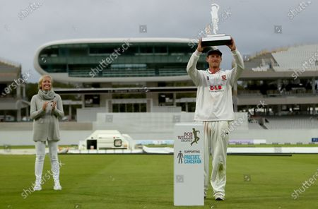 Stock Image of Tom Westley of Essex lifts the Bob Willis trophy during Somerset CCC vs Essex CCC, Bob Willis Trophy Final Cricket at Lord's Cricket Ground on 27th September 2020